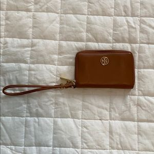 Tory Burch Brown Leather Wristlet